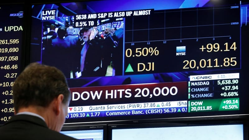 Investors said crossing the Dow 20,000 mark was just a number, but still nice to have [Brendan McDermid/Reuters]