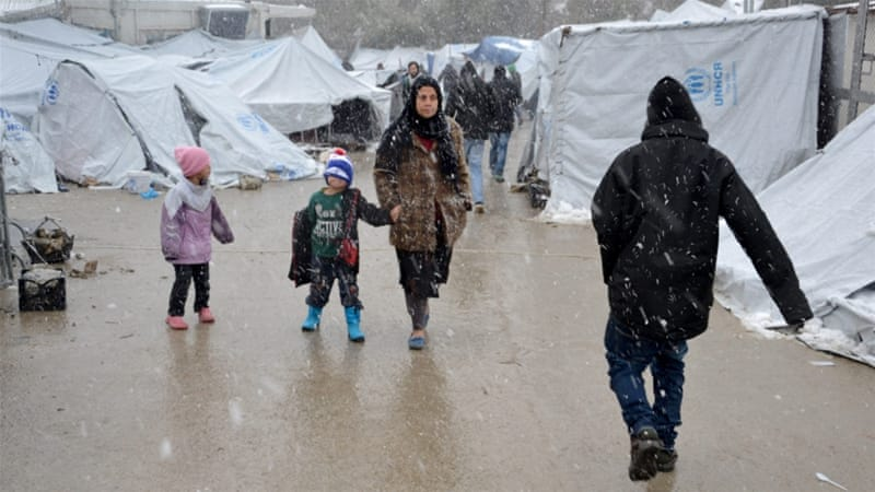 Refugees have endured harsh conditions during winter in Moria and other Greek camps [Stratis Balaskas/EPA]