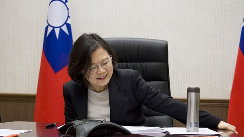 President Tsai Ing-wen spoke with US President-elect Donald Trump on the phone in December [Taiwan Presidential Office/AP]