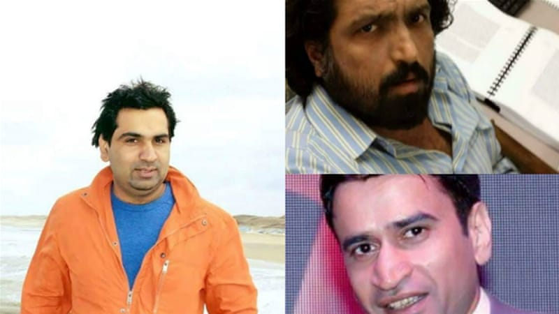 Three of the five missing Pakistani activists (clockwise from left): Waqas Goraya, Salman Haider and Asim Saeed [Facebook]