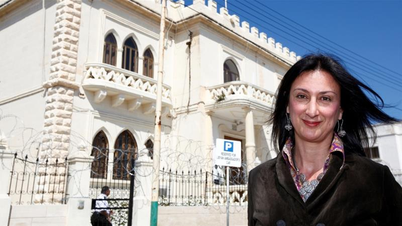 Caruana Galizia was killed when a bomb exploded in her car in October [Darrin Zammit Lupi/Reuters]