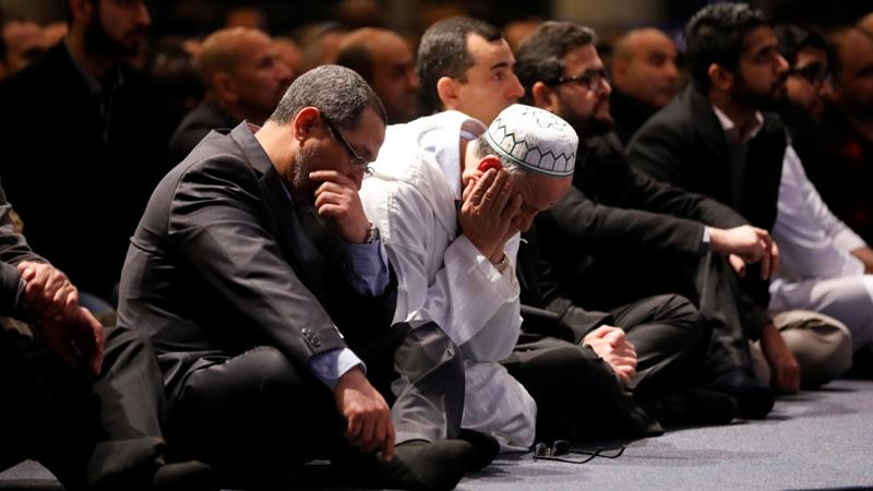 Mourners listen to prayers during funeral services for three of the victims of the deadly shooting at the Quebec Islamic Cultural Centre in Quebec City on February 3, 2017 [Mathieu Belanger/Reuters]