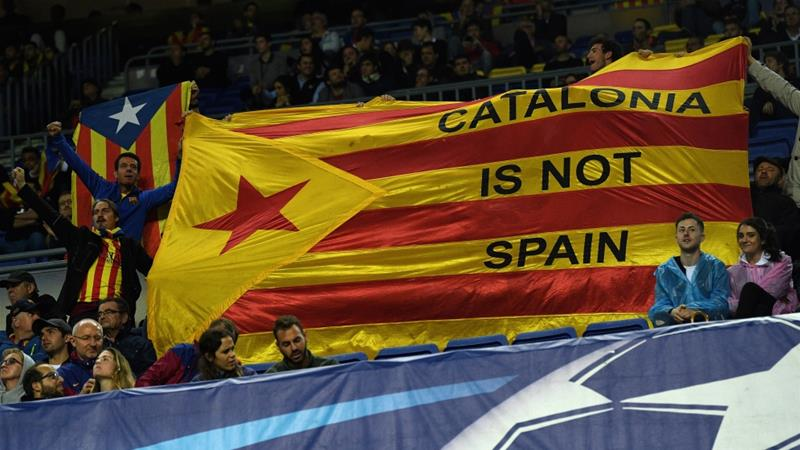 catalonia paragraphs Article 155 is only two short paragraphs of the 1978 spanish constitution  catalonia protestors hold up a flag inside the stadium during the uefa champions.