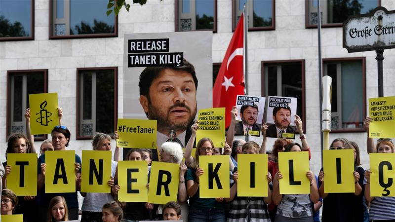 Amnesty's Taner Kilic has been detained in Turkey since June 2017 [John MacDougall/AFP]