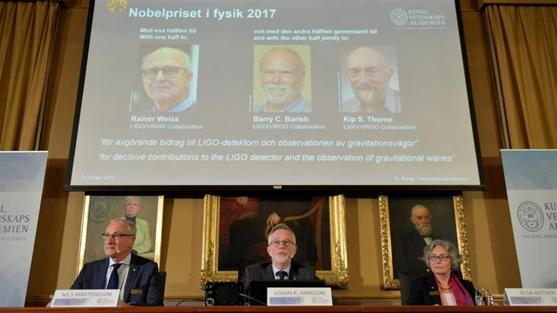 Barry Barish, Kip Thorne, Rainer Weiss of USA win Nobel Physics