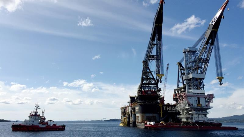 A general view of the drilling platform, the first out of four oil platforms to be installed at Norway''s giant offshore Johan Sverdrup field [Reuters/Nerijus Adomaitis]
