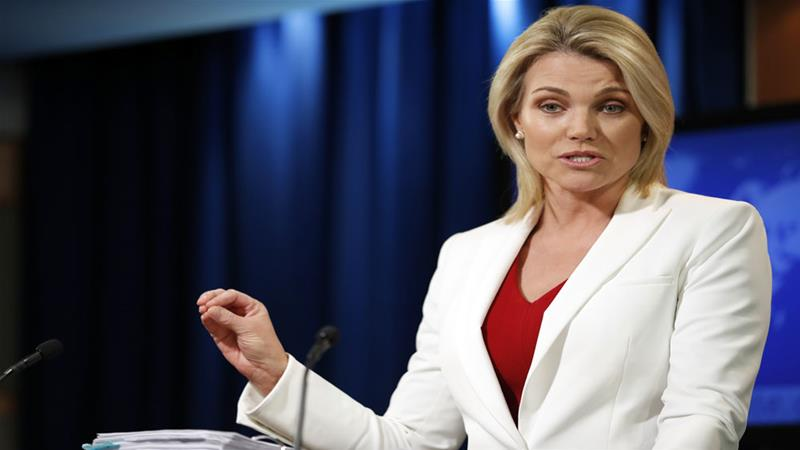 State Department spokeswoman Heather Nauert speaks during a briefing at the State Department in Washington [AP Photo]