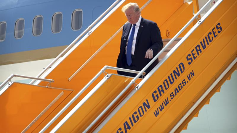Donald Trump arrives at Da Nang International Airport on Friday for the APEC summit [Mark Schiefelbein/AP]