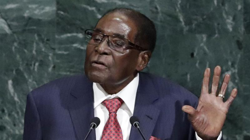Mugabe at the 72nd UN General Assembly said 'President of the United States, Mr Trump; please blow your trumpet' [Jason Szenes/EPA]   [EPA]