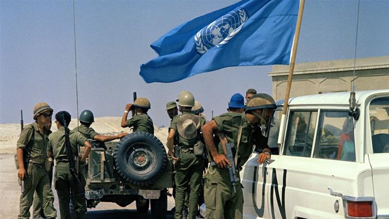 United Nations truce observers are shown in an unknown location during the Arab-Israeli war on July 15, 1967 [File: AP]