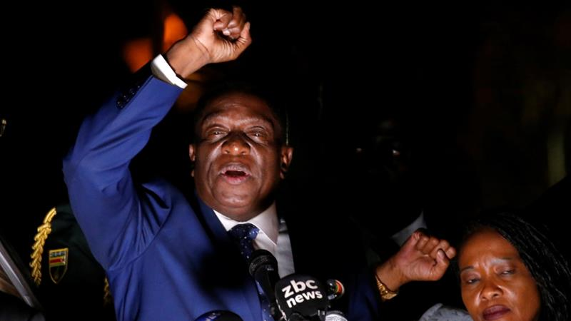 Emmerson Mnangagwa  addresses supporters in Harare [Mike Hutchings/Reuters]