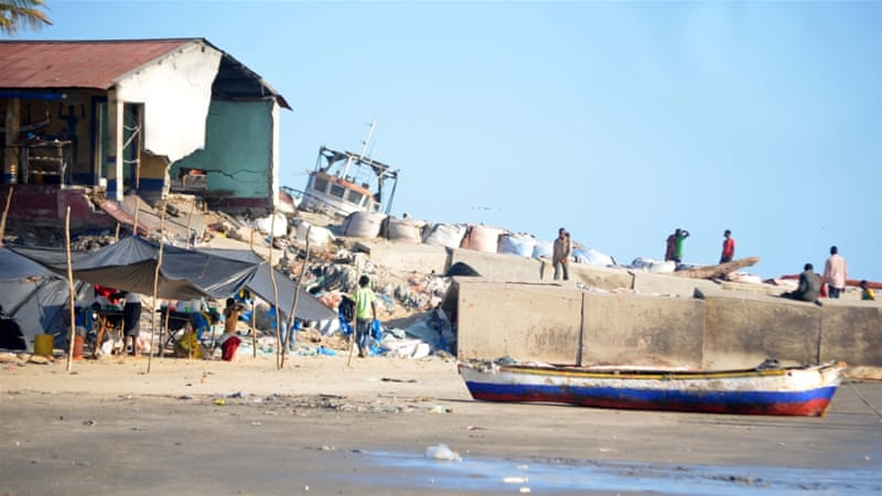 A house destroyed by a strong wave in Beira [Andrew Mambondiyani/Al Jazeera]