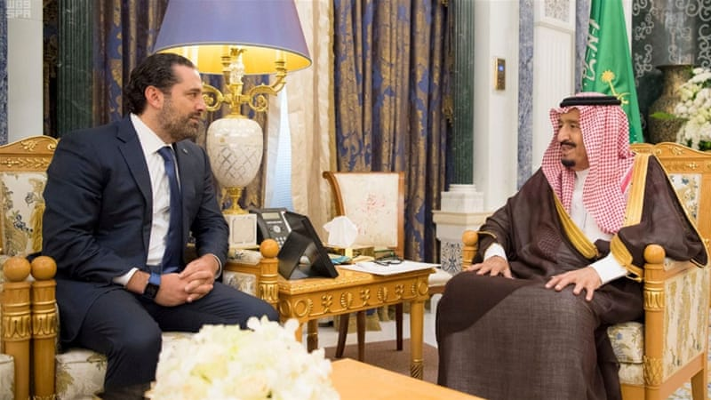 Saudi Arabia's King Salman met with Saad al-Hariri in Riyadh on November 6 [Handout/Reuters]