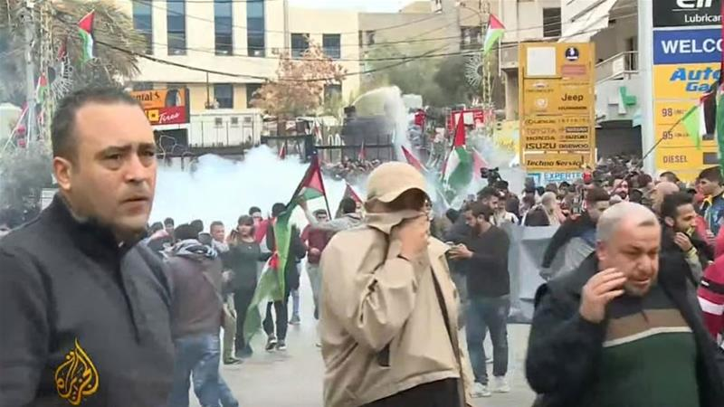 Security forces responded by firing tear gas canisters and using water canon to disperse the protesters [Al Jazeera]