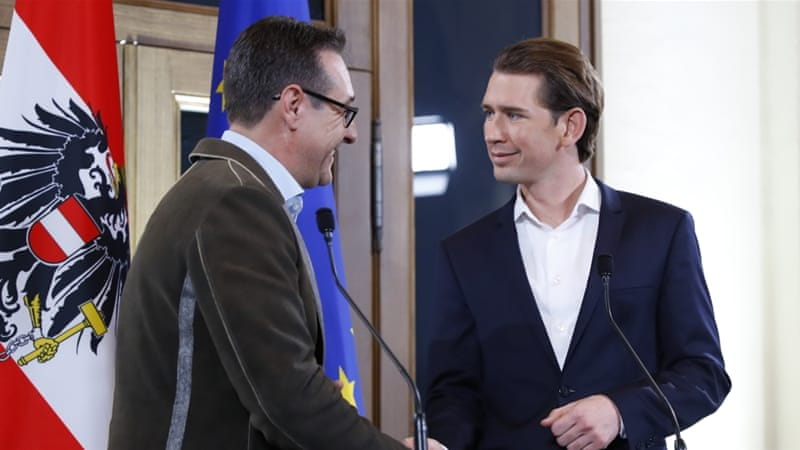 Head of the Freedom Party (FPO) Heinz-Christian Strache and head of the People's Party (OVP) Sebastian Kurz shake hands at the end of a news conference in Vienna, Austria. [Leonhard Foeger/Reuters]