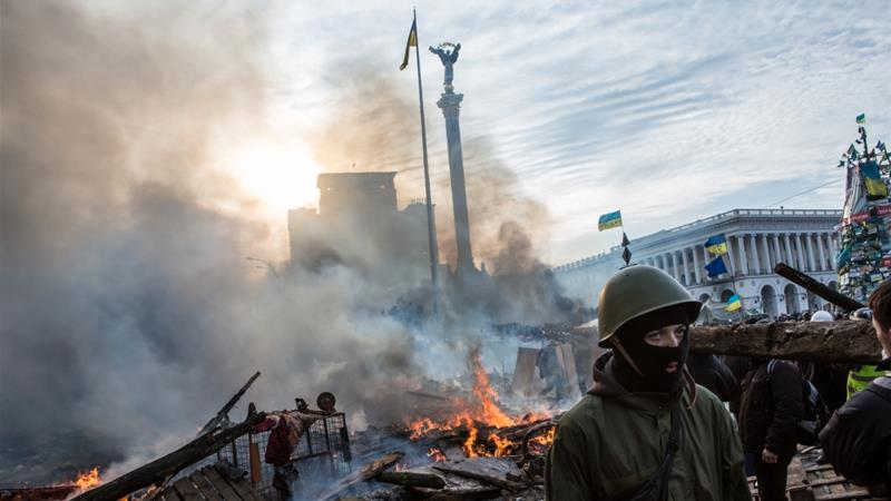 At least 130 people were killed during anti-government protests in and around Ukraine's Independence Square [Brendan Hoffman/Getty Images]