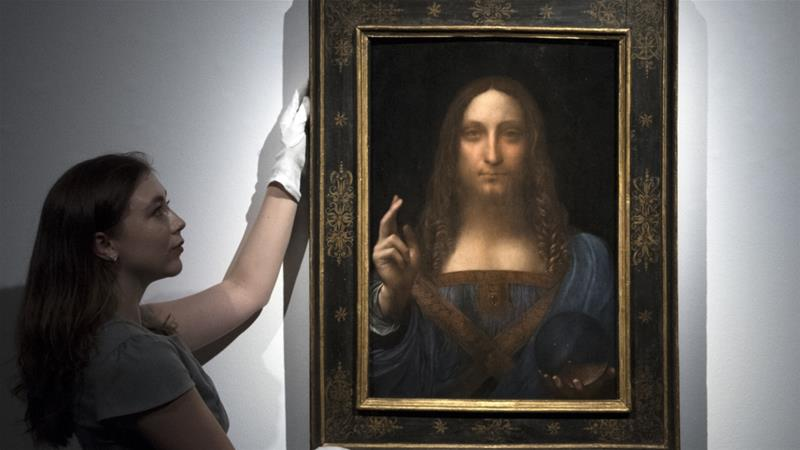 Leonardo da Vinci's painting, Salvator Mundi, was auctioned in New York on November 15 for $450m [Carl Court/Getty Images]