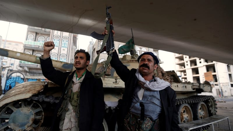 Houthi fighters react after Yemen''s ex-president Saleh was killed [Khaled Abdullah/Reuters]