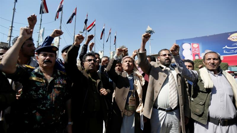 Houthi followers shout slogans during a gathering in Sanaa this week to celebrate their advances on forces loyal to former President Ali Abdullah Saleh [Khaled Abdullah/Reuters]