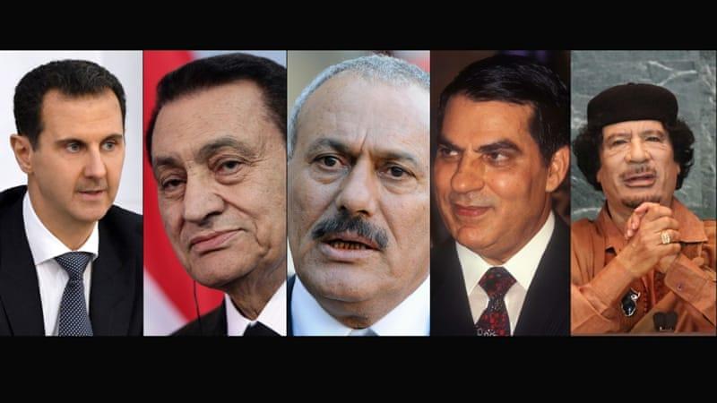 Bashar al-Assad, Hosni Mubarak, Ali Abdullah Saleh, Zine El Abidine Ben Ali and Muammar Gaddafi [Reuters, Getty Images]