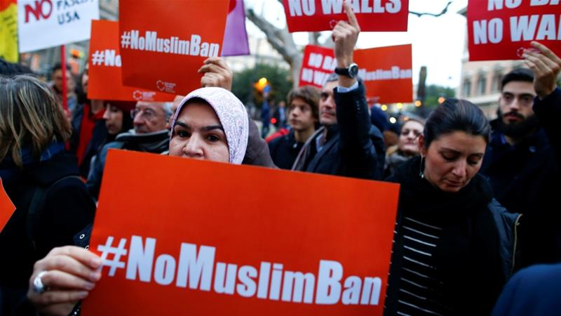 Protests have taken place nationwide against the travel ban [File: Tony Gentile/Reuters]