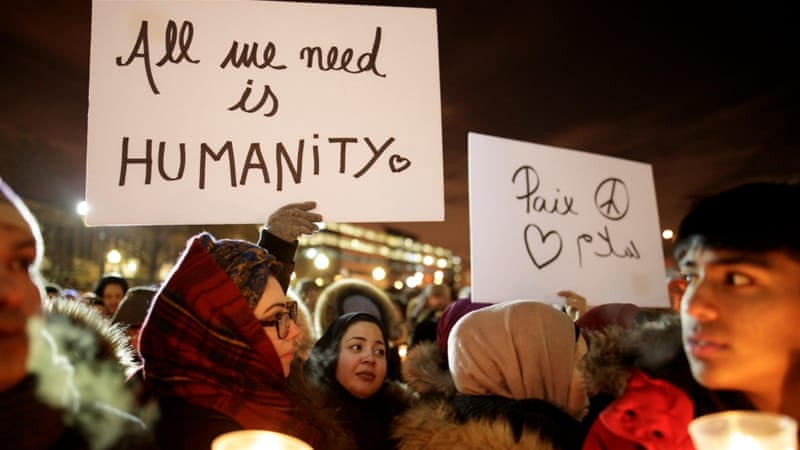 People attend a vigil in support of the Muslim community in Montreal, Quebec, January 30 [Reuters /Dario Ayala]