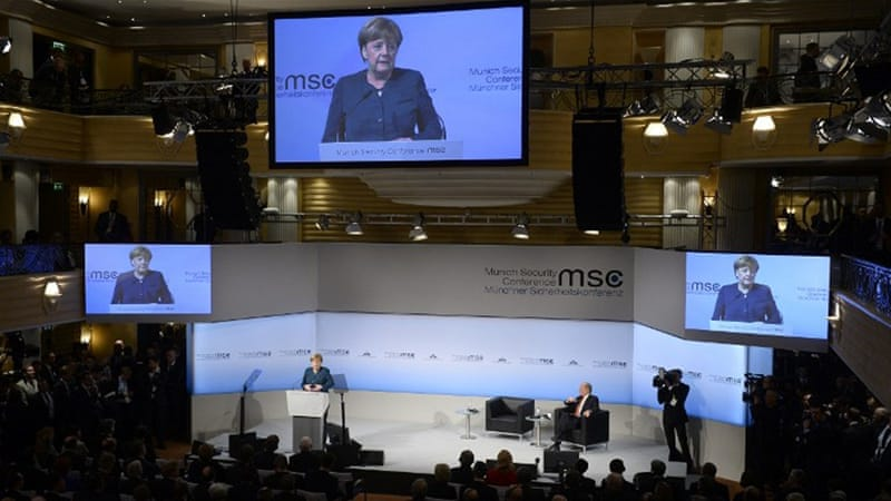 Merkel also stressed the need to preserve and strengthen multilateral structures such as the EU and NATO during her address [Thomas Kienzle/AFP]