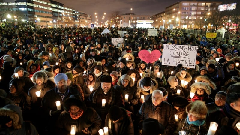 People attend a vigil in support of the Muslim community in Montreal, Quebec on January 30 [Dario Ayala/Reuters]