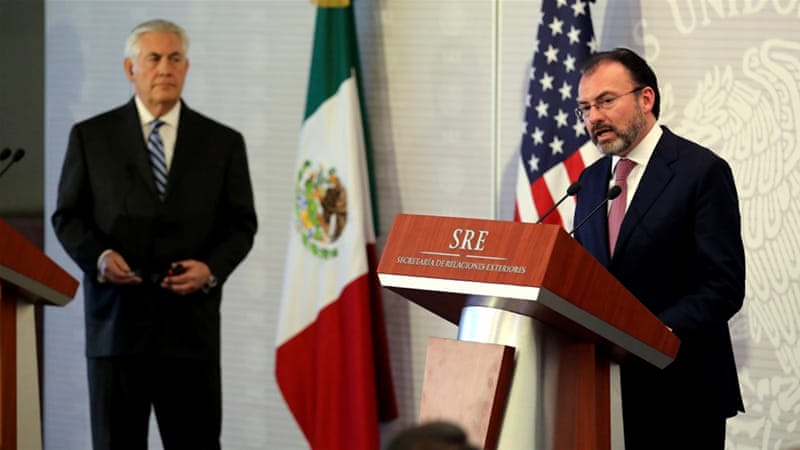 Videgaray addresses reporters next to Tillerson in Mexico City [Carlos Barria/Reuters]