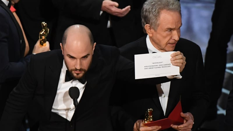 The team for La La Land had already taken to the stage when one of the producers interrupted to say that the award had been given to the wrong movie [AFP]