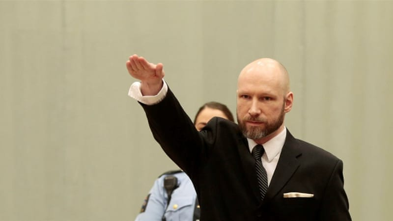 Anders Behring Breivik performs a Nazi gesture during an appeal at Telemark prison in Skien, Norway, on January 10, 2017 [NTB Scanpix/Lise Aaserud via Reuters]