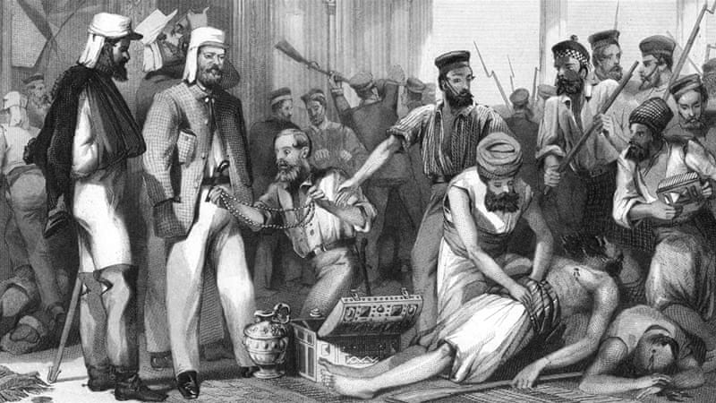 The Times correspondent looking on at the sacking of the Kaiser Bagh, in a scene during the Indian Mutiny after the capture of Lucknow in India, March 15 1858 [The Print Collector/Getty Images]