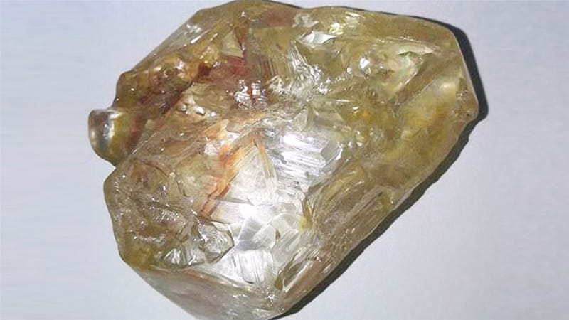 A picture of the 706-carat diamond discovered in Sierra Leone [Saidu Bah/AFP]