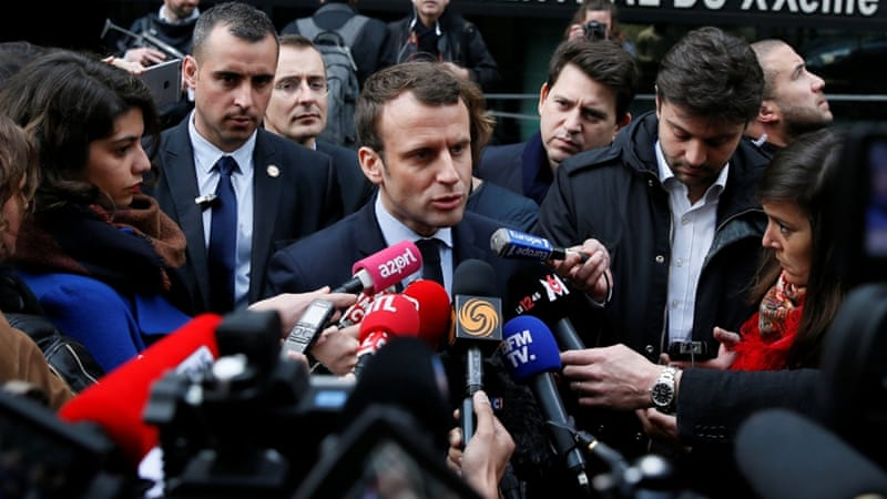 Macron, presented as an anti-system candidate who has ambitions to revolutionise the French political landscape, is the very product of the system, writes Saad [Gonzalo Fuentes/Reuters]