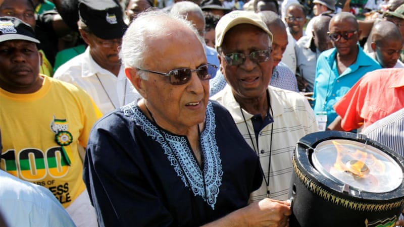 South African anti-apartheid activist Ahmed Kathrada, shown here at the ANC's centenary celebration in Bloemfontein, died on Tuesday, March 28 [Siphiwe Sibeko/Reuters]