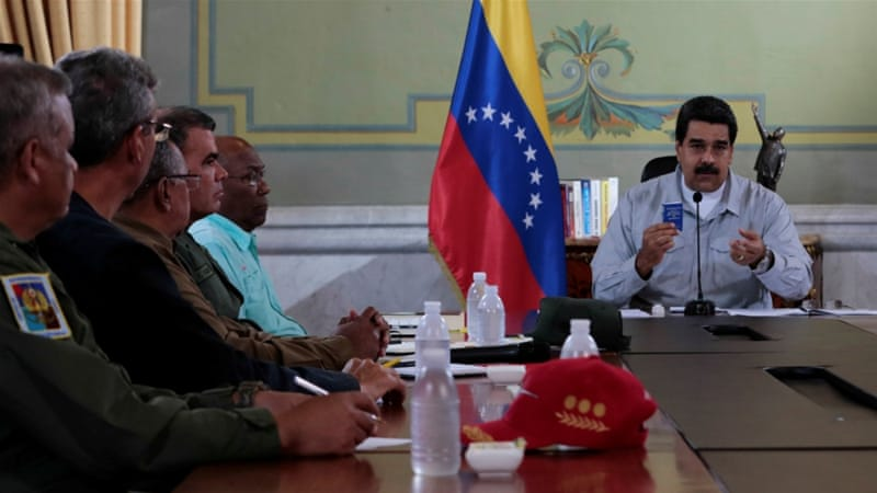 "President Maduro has denounced his opponents as ""traitors"" [Miraflores Palace via Reuters]"