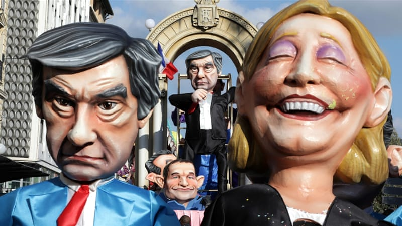 While Le Pen's poll numbers have not been affected by the scandal, Fillon's have dipped [Eric Gaillard/Reuters]