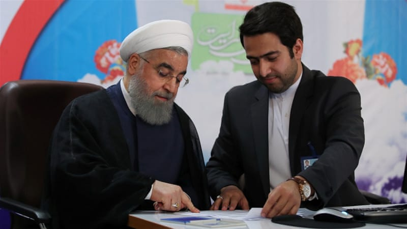 Iran's President Hassan Rouhani registers to run for a second four-year term in the May election, in Tehran, Iran, April 14, 2017 [Reuters]