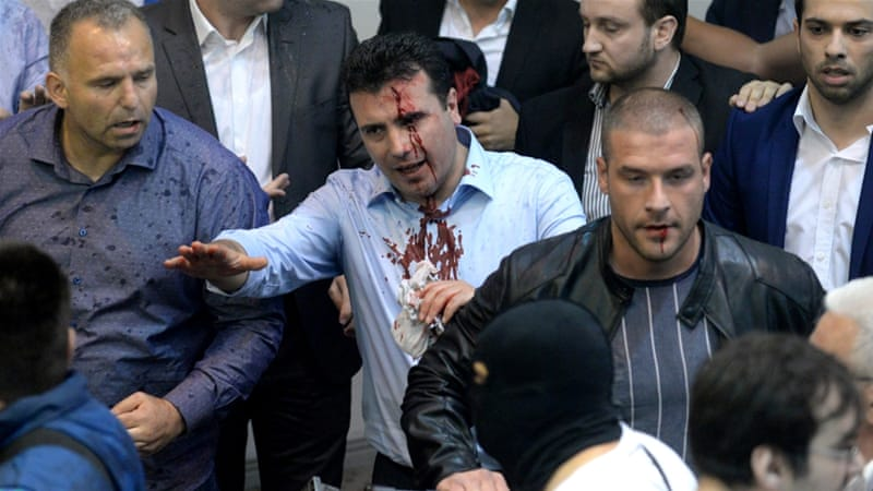 Protesters storm Macedonia parliament after vote for speaker