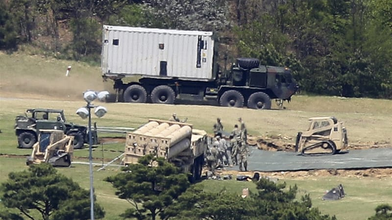 The THAAD missile defence system was deployed in a golf course in Seongju [File: YONHAP/EPA]
