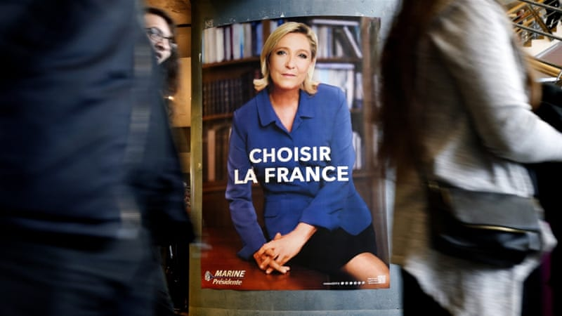 Although stopping short from presenting herself as a 'feminist', Le Pen has tried to appeal to French women by looking and behaving in a more approachable way, writes Poirier [Sebastien Nogier/EPA]
