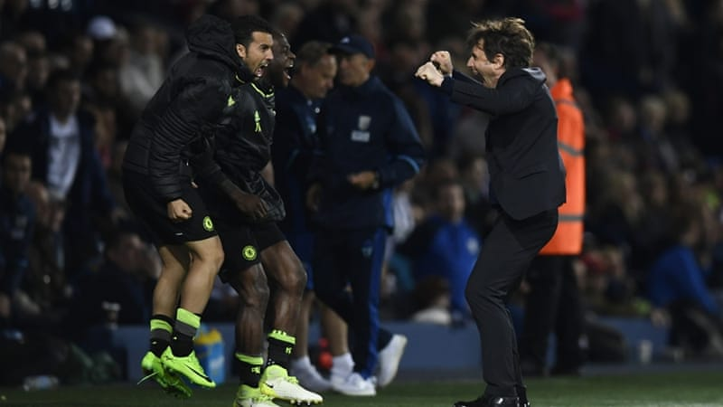 Conte is only the fourth manager to win the Premier League title at the first attempt [Reuters]
