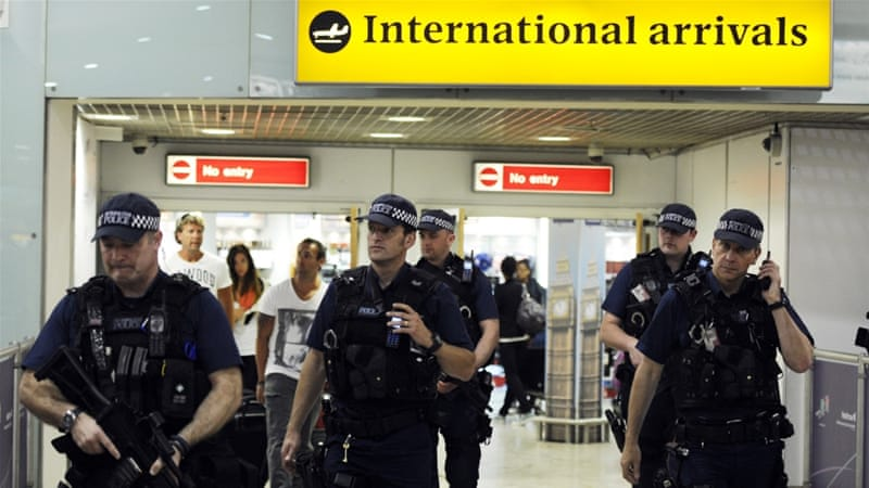 British police on patrol at Heathrow airport in London, Britain [Facundo Arrizabalaga/EPA]