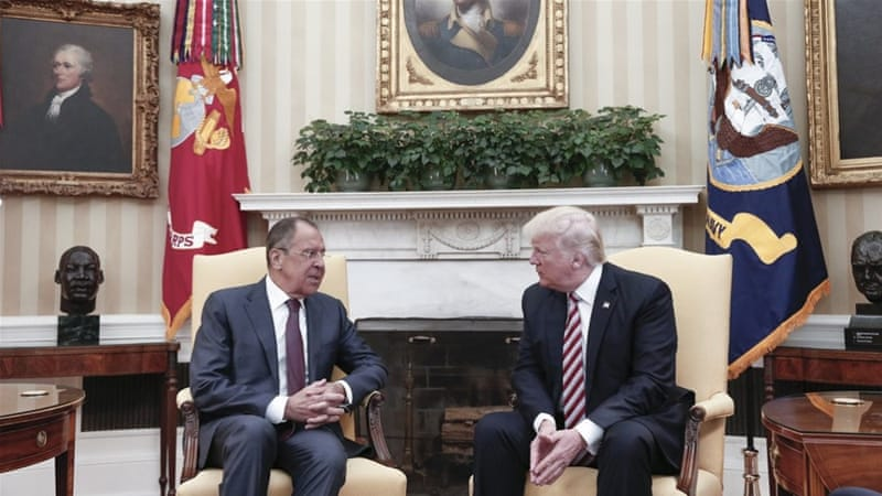 US President Donald Trump speaking with Russian Foreign Minister Sergey Lavrov during their meeting in the White House [EPA]