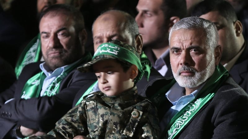 Hamas senior leader Ismail Haniya at a political event in the Gaza Strip [File: EPA]
