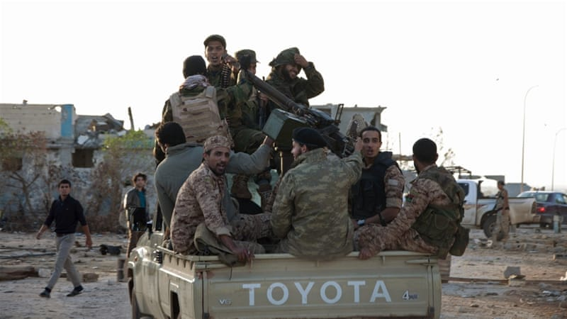 In this 2017 photo, forces loyal to Haftar are seen near the Benina area, east of Benghazi [File: Reuters]
