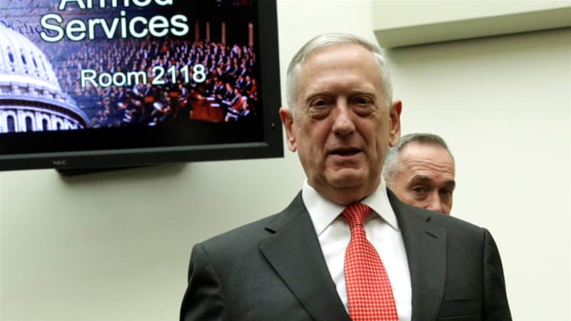 Mattis' comments came before a planned meeting between the US and Saudi Arabia officials in Washington, DC [Reuters]