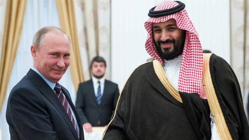 Russian President Vladimir Putin shakes hands with Saudi Deputy Crown Prince Mohammed bin Salman during a meeting at the Kremlin on May 30, 2017 [Reuters/Pavel Golovkin]