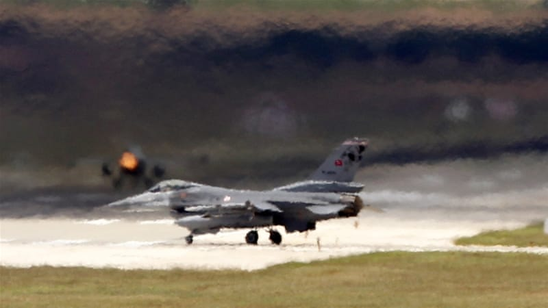 The Turkish defence ministry said the drone was shot down by F-16 jets [Umit Bektas/Reuters]