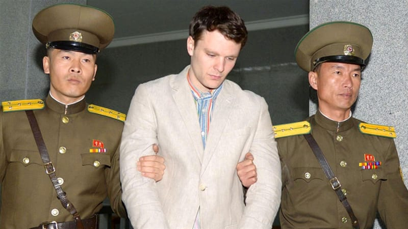 Otto Warmbier (C) was held in North Korea for nearly a year-and-a-half after he was accused of stealing a propaganda poster from a hotel 